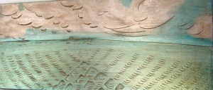 aluminum leaf gilding on incised gesso panel made in Maine