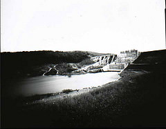 pinhole camera image of Wyman Dam