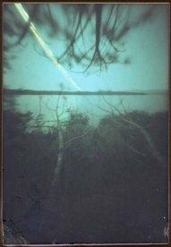 2 week solargraph pinhole image of Kezar Lake July 12-26