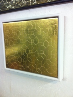Linoleum Pattern: incised gesso panel in 23 karat burnished gold leaf