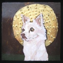 Icon portrait of Arrow, my friend's dog. Tempera, casein, 23 karat gold leaf