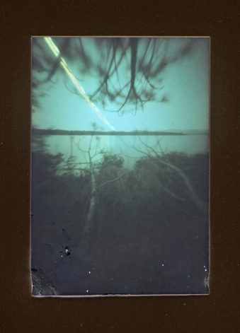 Two week pinhole exposure.  Solargraph. Taken at Hewnoaks Artist Colony. Lovell Maine. July 2014