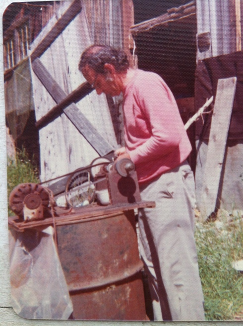 Probably the first person to influence my creativity was my father. He is a man who could teach himself anything. In this picture he is grinding stones which he rockhounded from a nearby quarry. He taught himself lapidary work and silversmithing and followed that trade for about twenty years.