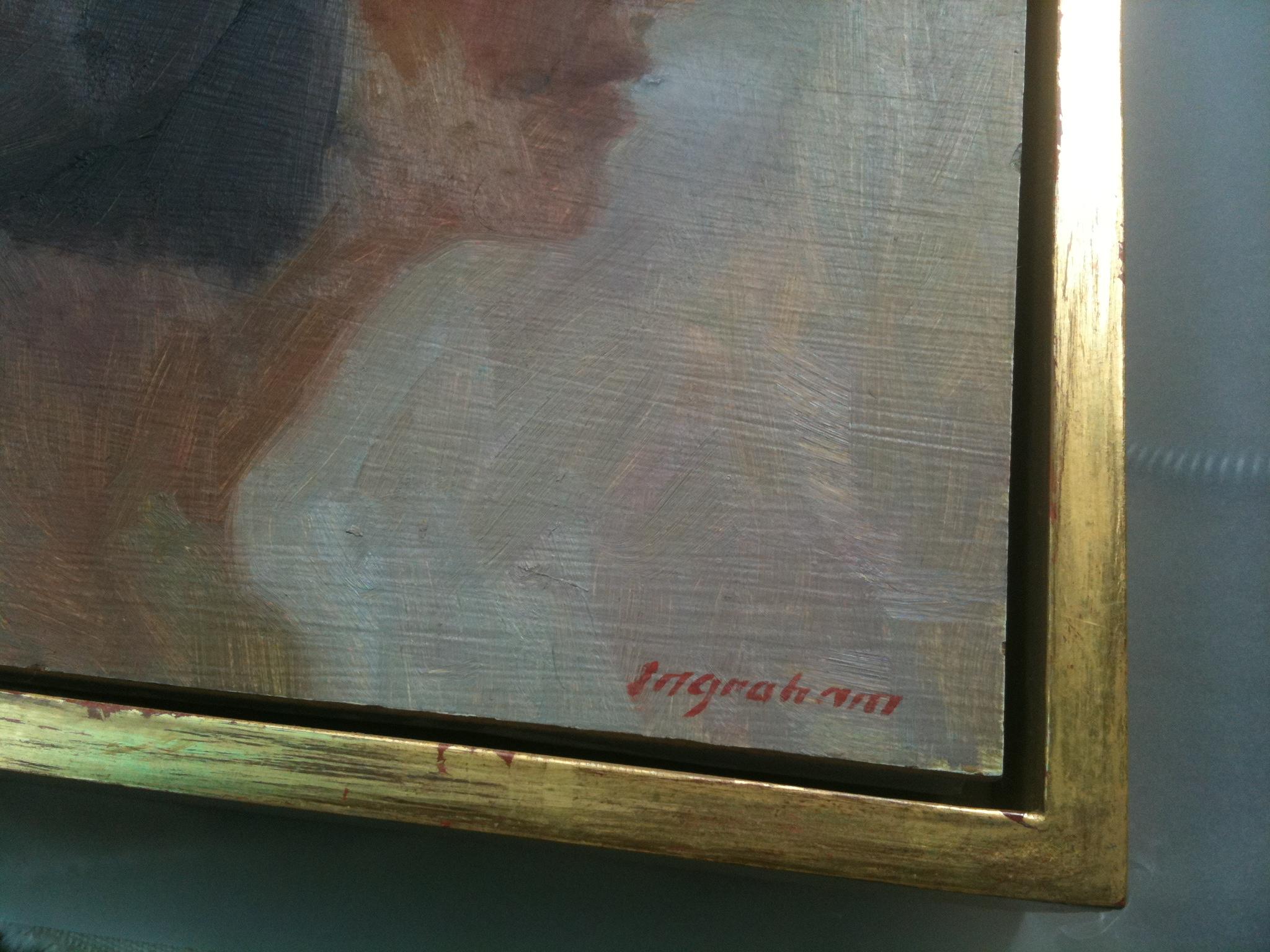 made in Maine burnished gold leaf canvas floater frame