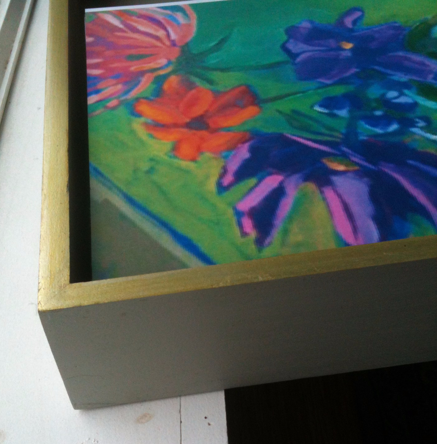 custom made canvas floater frame made in Maine gold leaf finish by JOhanna Moore