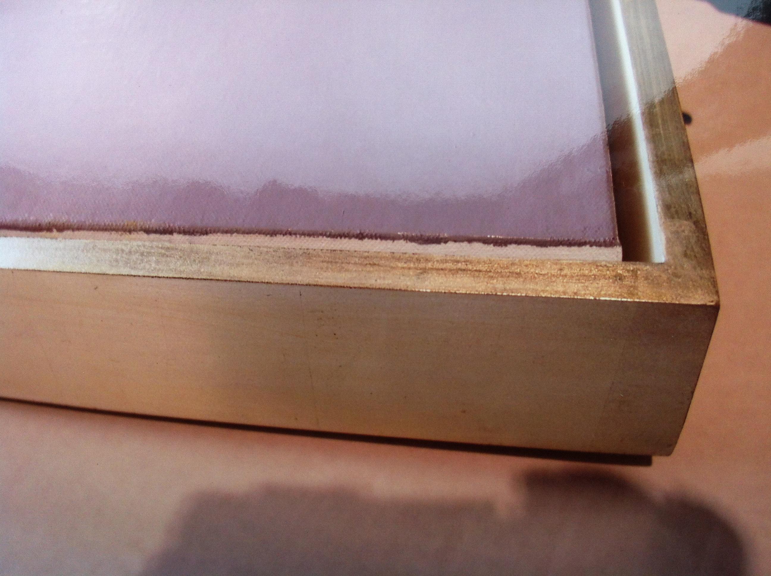 hand made in Maine custom canvas floater frame in 12 karat white gold leaf