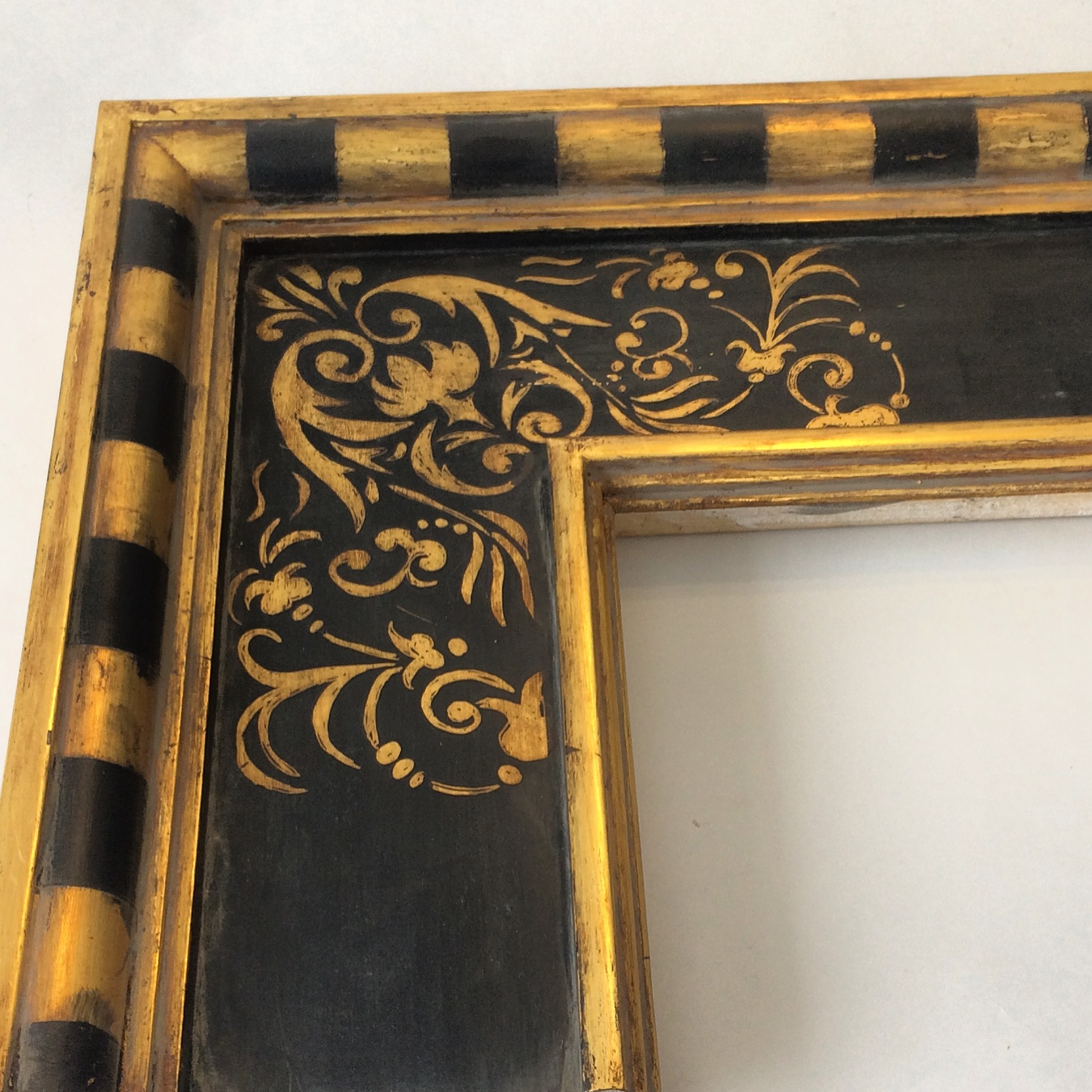 gilded hand made picture frame in 17th c. Italian sgrafitto finish