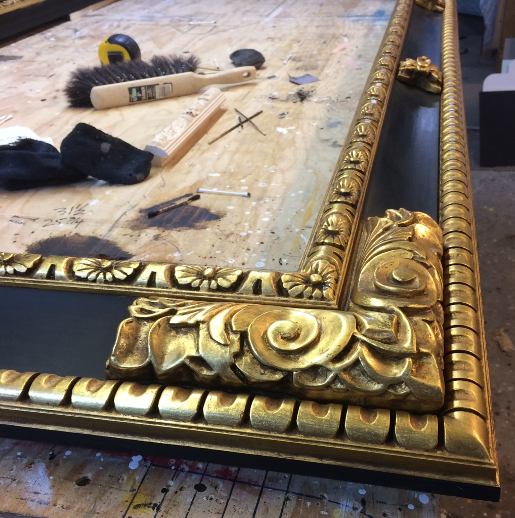 hand carved gold leaf picture frame Spanish style